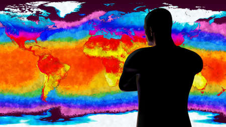 the greenhouse effect: Man Watching Earth Global Warming 3D Illustration Stock Photo