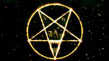 hellion: Inverted Pentagram Symbol with the Face of the Evil Illustration
