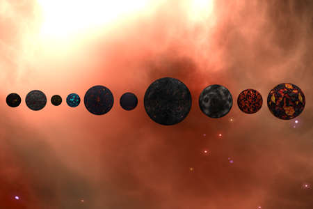 Planets in Outer Space Galaxy 3D Illustration