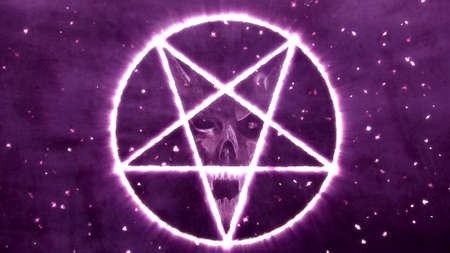 antichrist: Inverted Pentagram Symbol with the Face of the Evil Illustration