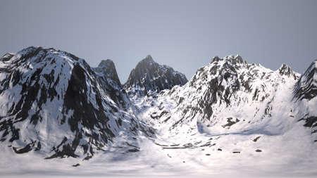 Snowy Mountain Peaks 3D Illustration