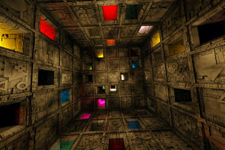 Sci Fi Grungy Escape Room Riddle Labyrinth Cube Interior 3D Illustration Banque d'images