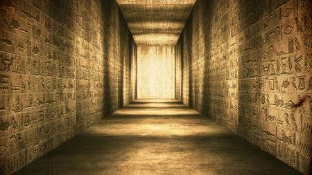 Egyptian Tunnel Hieroglyphs Corridor Vintage Illustration