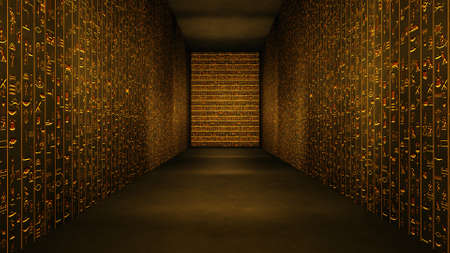 Golden Egyptian Tunnel Hieroglyphs Corridor Illustration Stock Photo