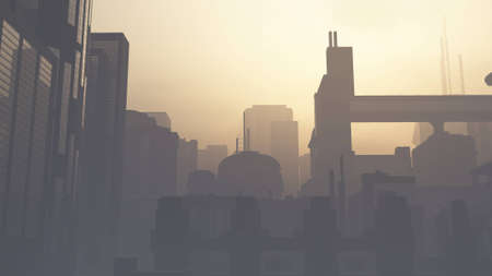 Post Apocalyptic Heavily Air Polluted Smoggy Metropolis 3D Illustration