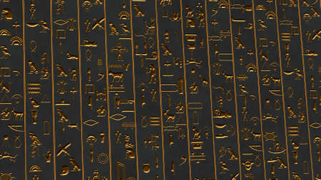 Golden Egyptian Hieroglyphs Ancient Wall Illustration