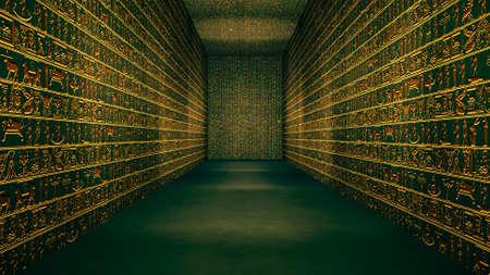 Illustration de couloir de hiéroglyphes tunnel égyptien or Banque d'images - 90840178