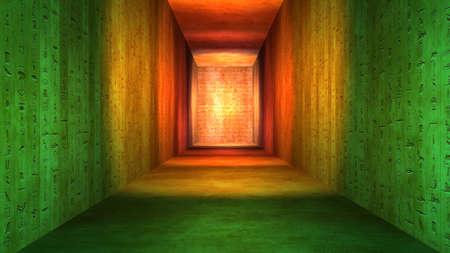 Ilustración del corredor egipcio túnel jeroglíficos Foto de archivo - 90837572