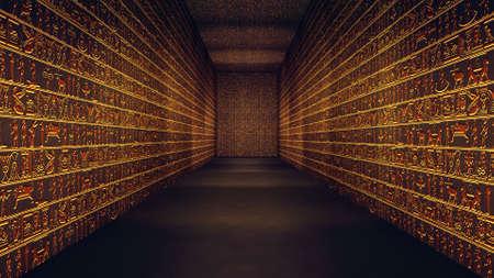 Golden Egyptian Tunnel Hieroglyphs Corridor Illustration Banque d'images