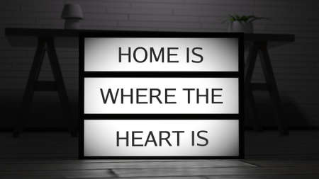 Home is Where The Heart Is Lightbox 3D Illustration