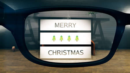 Merry Christmas AR Glasses Concept Art Stock Photo