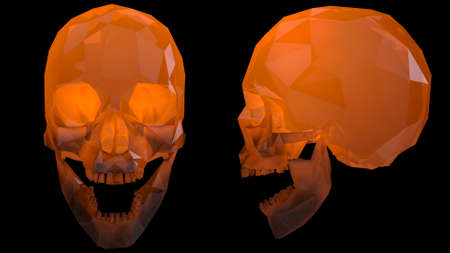 Crystal Skulls Illustration Orange