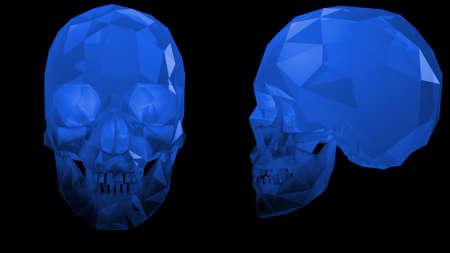Crystal Skulls Illustration Blue Reklamní fotografie