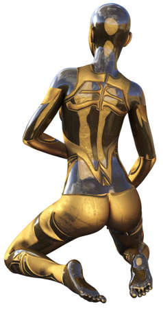 Golden Used Metallic Android Female Futuristic Artificial Intelligence 3D Illustration Stock Photo