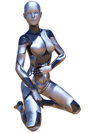 Android Female Used Metallic Look Futuristic Artificial Intelligence 3D Illustration Stock Photo
