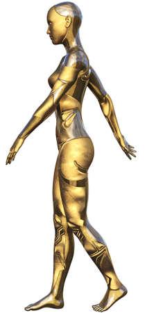 Golden Used Metallic Android Female Futuristic Artificial Intelligence 3D Illustration Stock Photo