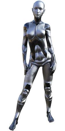Android Female Used Metallic Look Futuristic Artificial Intelligence 3D Illustration Stock Photo