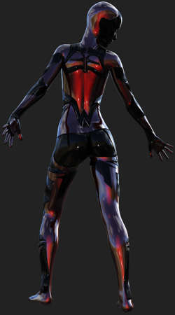 Black and Red Ultra Modern Android Female Artificial Intelligence 3D Illustration