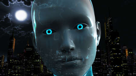 Artificial Intelligence Causing City Power Outage Blackout Stock Photo
