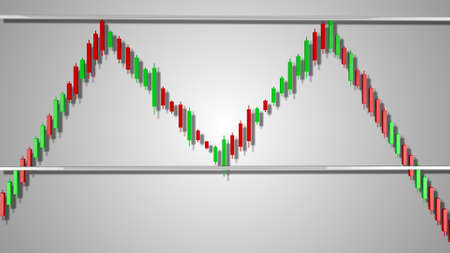 Double Top Stock Chart Pattern 3D Illustration