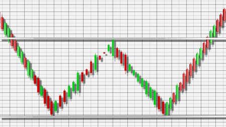Double Bottom Stock Chart Pattern 3D Illustration