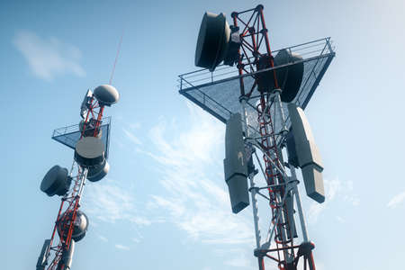 5G Telecommunication Tower under Blue Sky 3D Illustration