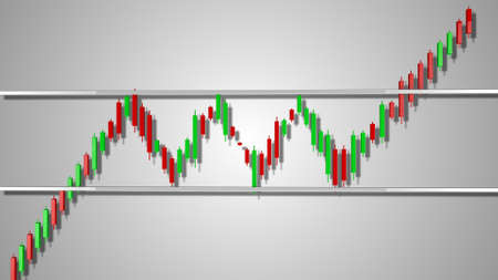 Bullish Rectangle Stock Chart Pattern 3D Illustration