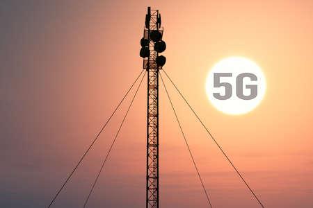 5G Telecommunication Tower in Sunset Sunrise 3D Illustration Stock Photo