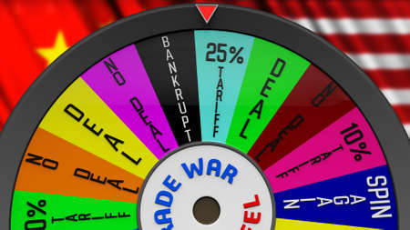 US China Trade War Fortune Wheel 3D Illustration