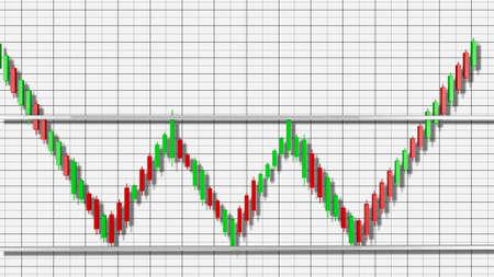 Triple Bottom Stock Chart Pattern 3D Illustration
