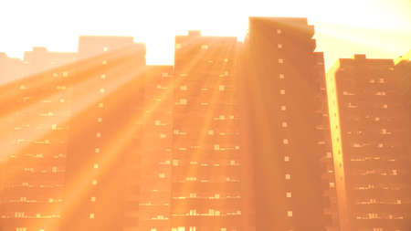 Overpopulated Dystopia Building Blocks in Big City Metropolis 3D Illustration