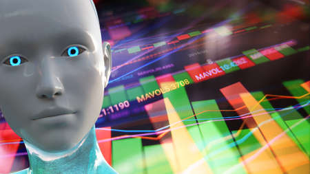 Artificial Intelligence Algorithm Trading Stock Market 3D Illustration Фото со стока