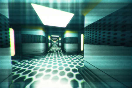 Space Station Corridor System 3D Illustration Stock Photo