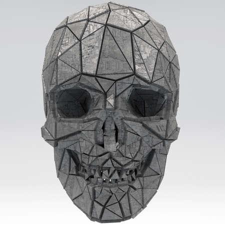 Science Fiction Fantasy Futuristic Human Skull 3D Illustration Фото со стока