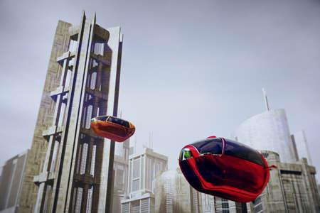 Autonomous Electric Vehicles City Future 3D Illustration