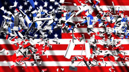 Debris and USA Flag Divided America Concept 3D Illustration 写真素材