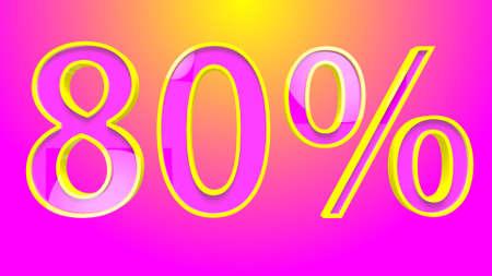 80 Percent Discount Text 3D Illustration