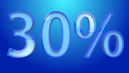 30 Percent Discount Text 3D Illustration