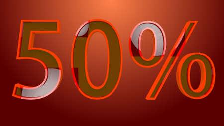 50 Percent Discount Text 3D Illustration