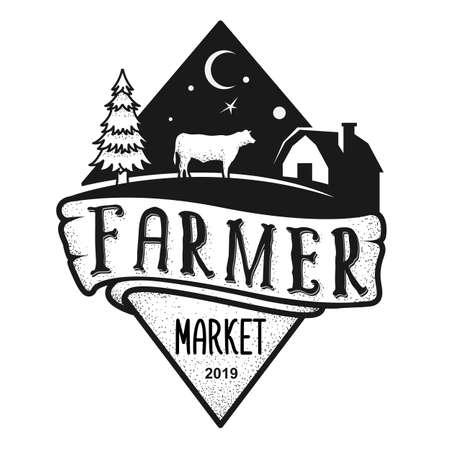Black and white farm icon design Çizim