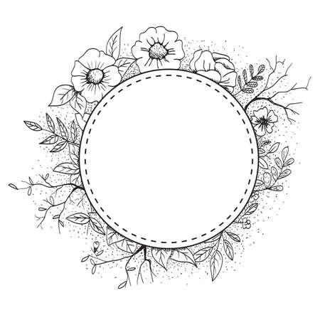 Hand drawn flower shop icon design