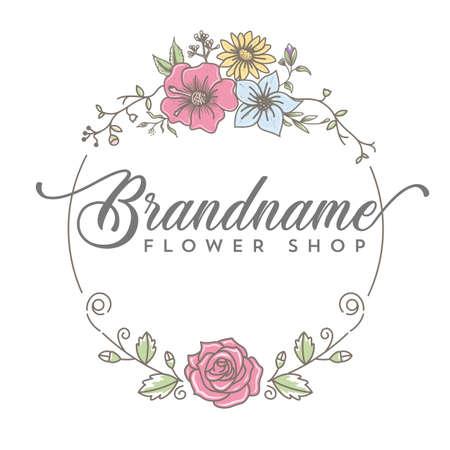 Line art flower shop logo design Illustration