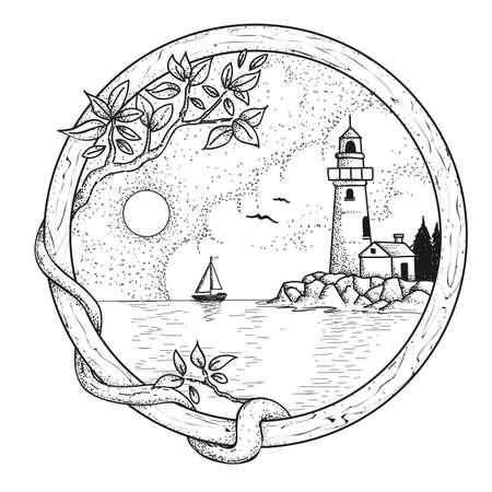 Latarnia morska ręcznie rysowany ilustrator