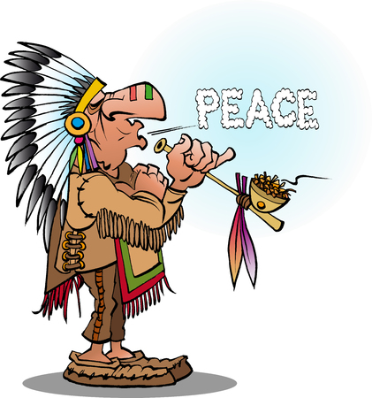 Vector cartoon illustration of an indian chief smoking  a pipe blowing peace Ilustração