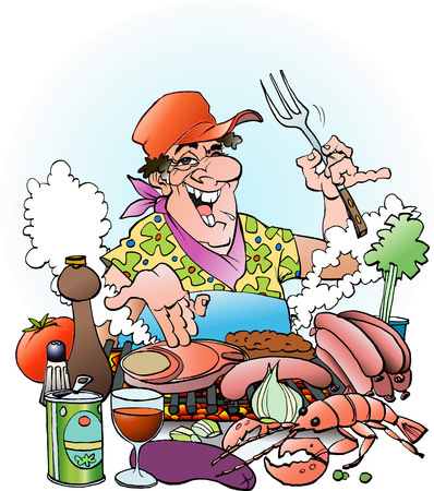 inviting: Vector cartoon illustration of a Grillmaster inviting to a grill party outdoor