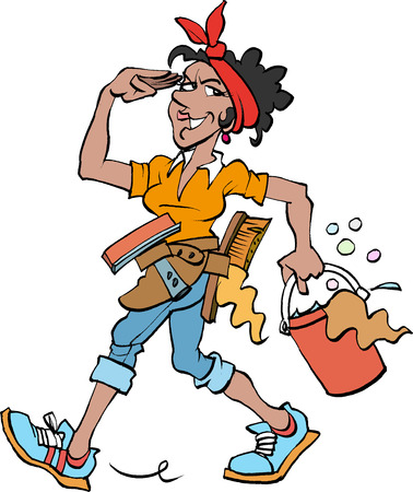 Vector cartoon illustration of a Cleaning lady at work dark Vettoriali