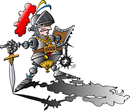 Vector cartoon illustration of a Dangerous proud Knight with armour Ilustração