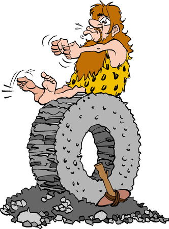Vector cartoon illustration of a Stoneage man sitting on a stone wheel