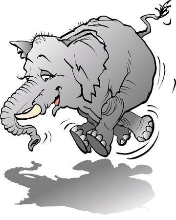 Vector cartoon illustration of a Baby elephant playing with shadow