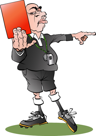 soccer referees hand with red card: Vector cartoon illustration of a referee with a red card